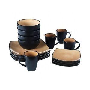 Image is loading Dinnerware-Set-Stoneware-32-Piece-Taupe-Plates-Bowls-  sc 1 st  eBay & Dinnerware Set Stoneware 32 Piece Taupe Plates Bowls Mugs Square ...