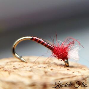 Lightweight-Red-Quill-Buzzers-size-12-Set-of-3-Fly-Fishing-Flies-Bloodworm