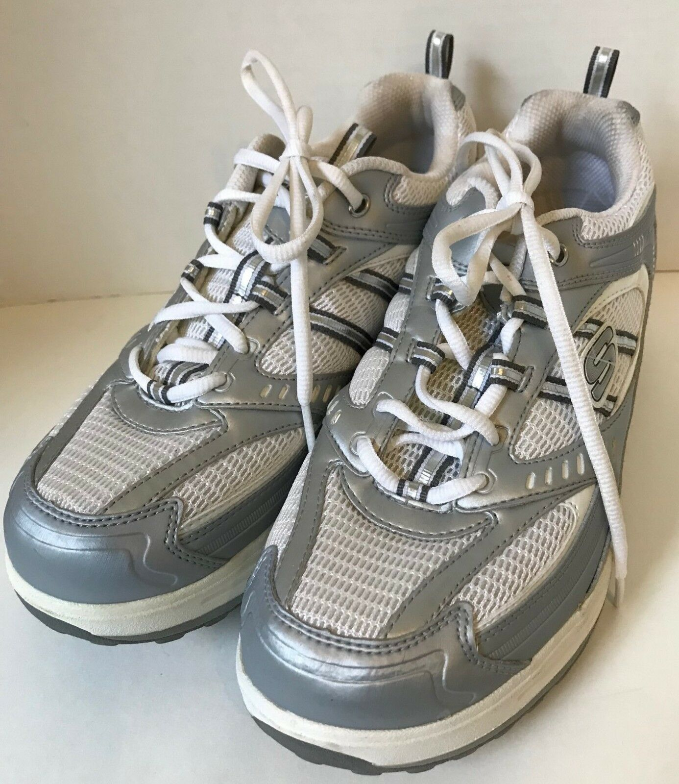 reputable site 2d297 5f44f SKECHERS Womens Shape-Ups Athletic Walking shoes Silver Size 10 Leather  White nxzczk5038-Women s Trainers