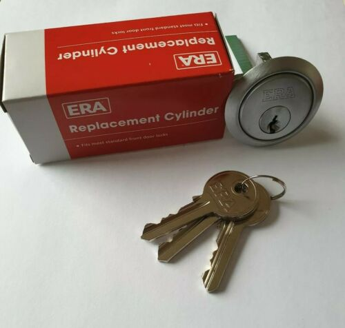 Chrome Finish C//W 10 keys ERA Front Door Lock 5 PIN Rim Cylinder
