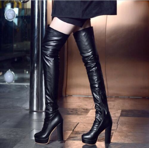 New Womens Pleated High Heel Side Zip Riding Over Knee High Boots Shoes Big Size