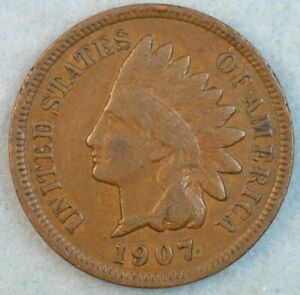 1907-Indian-Head-Cent-Penny-Liberty-Very-Nice-Vintage-Old-Coin-Fast-S-amp-H-34002