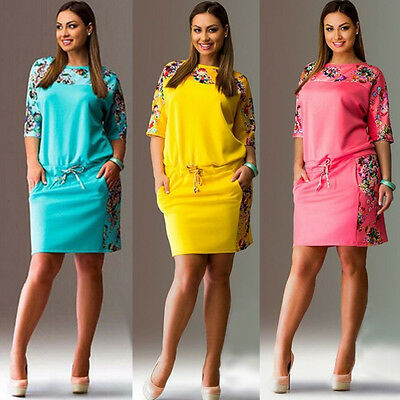 Women Short Sleeve Floral Summer Casual Party Evening Short Mini Dress Plus Size