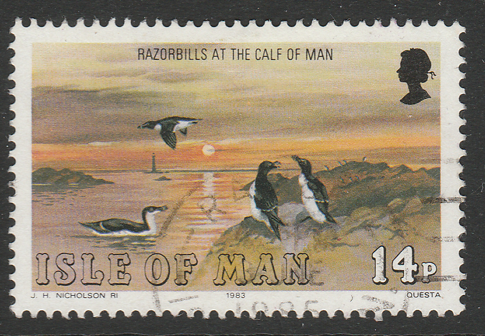 ISLE OF MAN Colonial Seabird Razorbills Atlantic Ocean Animals 14p used A16P1F24