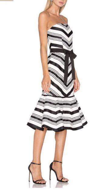 efc7814de5527 NWOT Alexis Kristen Dress SZ Small Strapless Striped $825 Black/white
