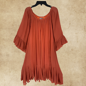 PLUS-RUST-RUFFLE-BOHO-Peasant-Vintage-Hippie-TUNIC-Dress-Bell-Sleeve-1XL-2XL