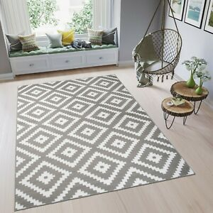 Teppich-Kurzflor-Grau-Weiss-Karo-Marokkanisch-Modern-Designer-Wohnzimmer-NEUHEIT