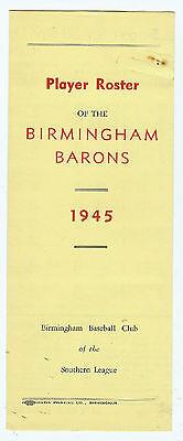 1945 Birmingham Barons Roster (Media Guide)