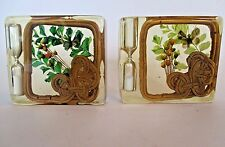 Vtg Lucite Paperweight Egg Timer Butterfly Rattan Dried Flowers Set of 2
