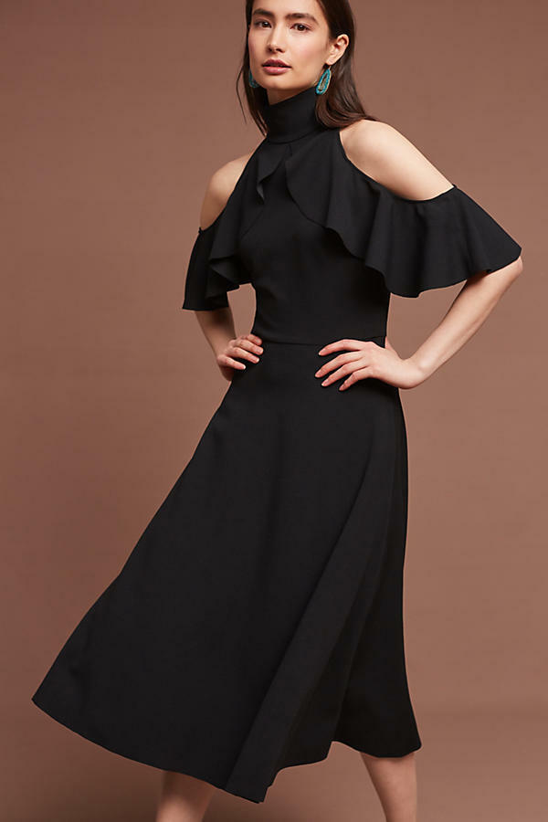 New Anthropologie Kristina Dress by Tracy Reese schwarz  Cold Shoulder S M L