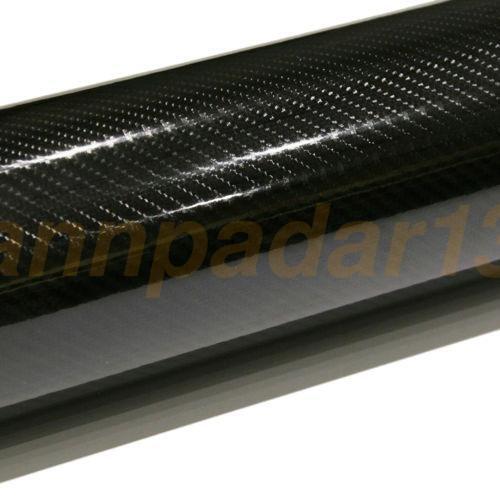 Luxury 5D 50cm*1.5M Premium High Gloss Black Carbon Fiber Vinyl Wrap Bubble