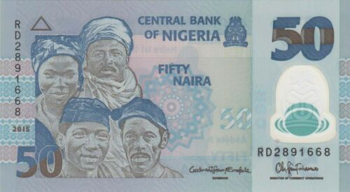 Nigeria 50 Naira 2015 Polymer//Fishermen//p40e UNC
