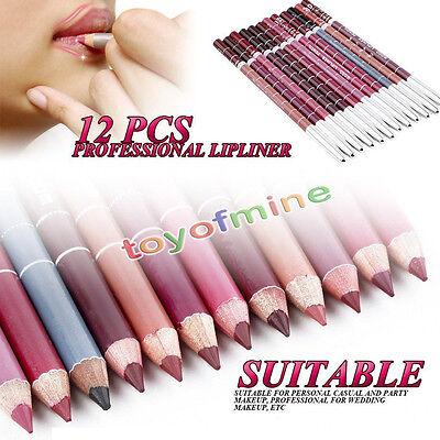 Hot 12 PCS Professional Lipliner Waterproof Lip Liner Pencil 15CM 12 Colors