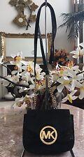 Michael Kors Black Snakeskin Leather Chain Strap Cross-body Bag Purse EUC