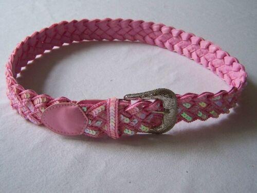 Gürtel Flechtgürtel rosa pink mit Pailletten 100 cm #GJ
