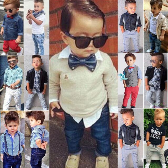 Kids Toddler Boys Dress Shirt Coat + Pants Set Gentleman Suit Outfits Clothes