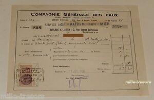 RECU-1er-Octobre-1936-COMPAGNIE-GENERALE-des-EAUX-TIMBRE-FISCAL-25-c