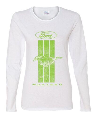 Ford Mustang Green Stripe Women/'s Long Sleeve Tee Classic American