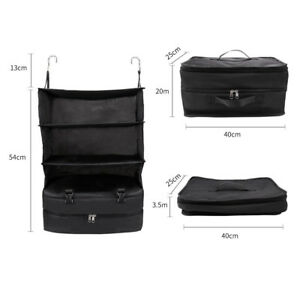Portable Luggage System Hanging Travel Shelves 3 Layer Storage Bag Organizer US