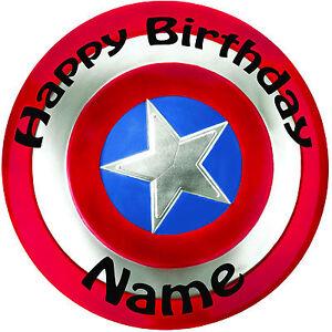 Personalised Birthday Captain America Shield Round 8 Precut Icing