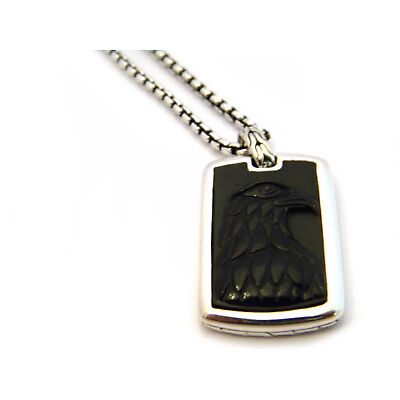 "John Hardy 26"" Legends Eagle Head Black Onyx Tag Pendant Silver Necklace NWT"