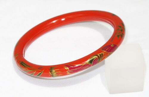 Vintage Celluloid Bracelet Bangle Art Deco pumpkin