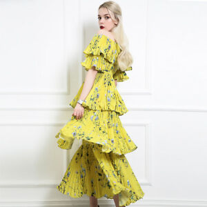 92001e3e67 NWT Self-Portrait Yellow Off-the-shoulder Floral Tiered Pleated Maxi ...