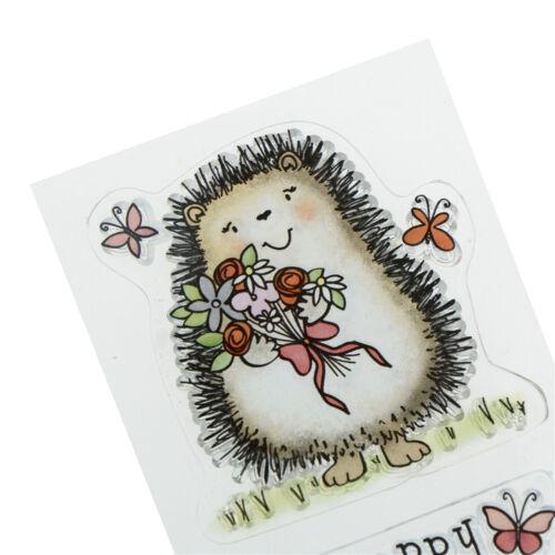 Lovely Hedgehog Happy Birthday Rubber Stamp Seal Scrapbook Photo Album Deco GNCA