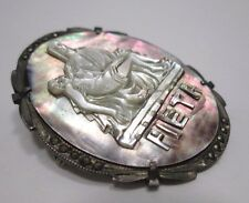 ANTIQUE Pieta Mother of Pearl Abalone & Marcasite 800 Silver Cameo Pin/Pendant