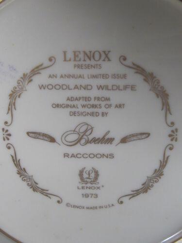 "Boehm Lenox 1973 Woodland Wildlife RACCOONS 10 1//2/""  Ltd Ed plate MIB"