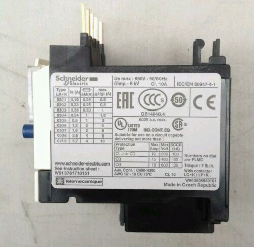 Schneider Electric LR2K0305 Thermal Overload Relay 0.54 0.8A 3 Pole TeSys 023039