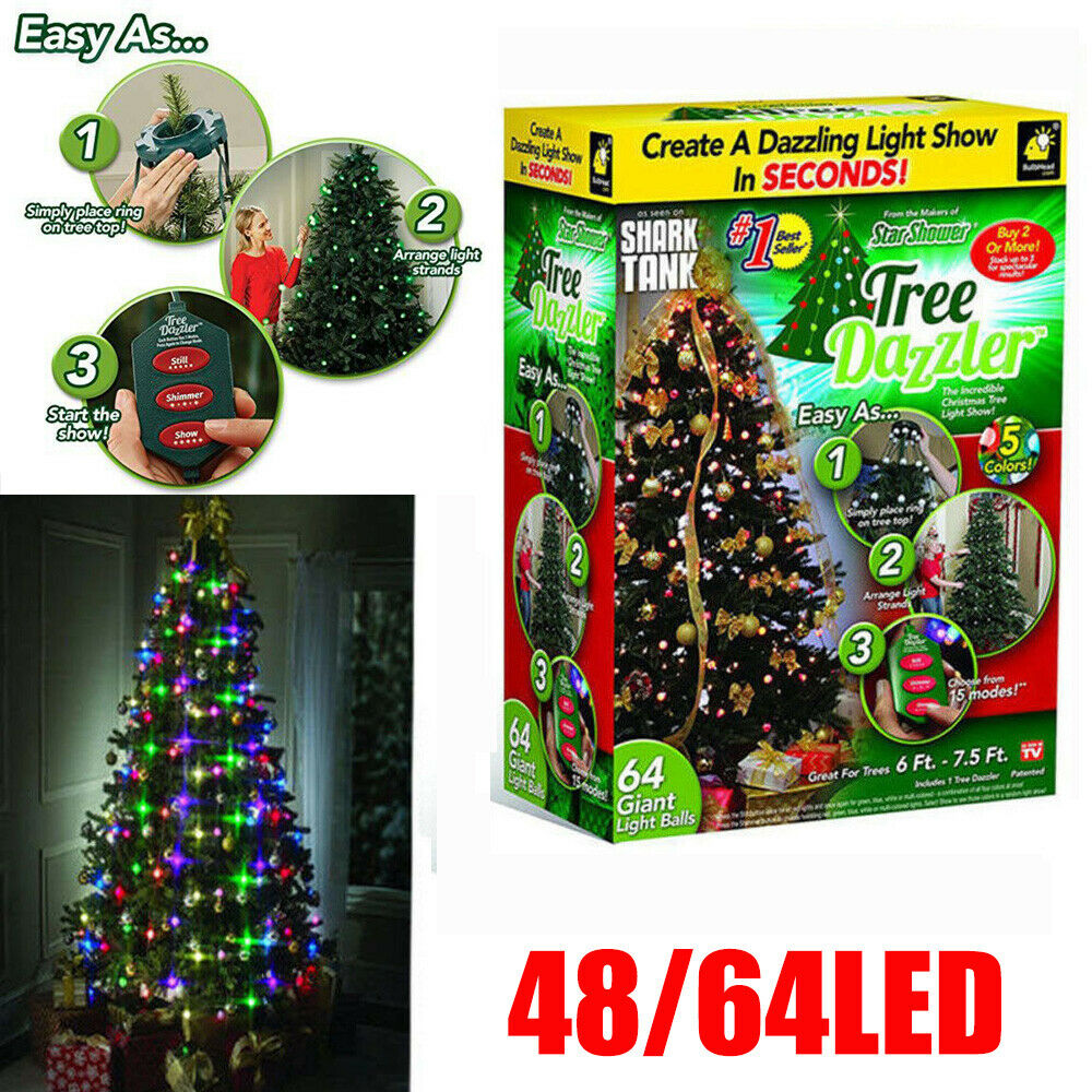Details About Uk Hanging Star Tree Lights Led 48 64 Dazzler Christmas Tree Decor Shower Bulbs