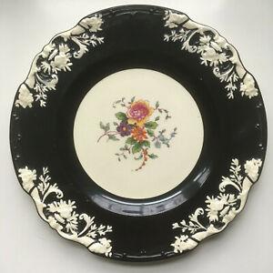 George-Jones-amp-Sons-Marlborough-China-8-034-Salad-Plate-Embossed-Black-White-Floral