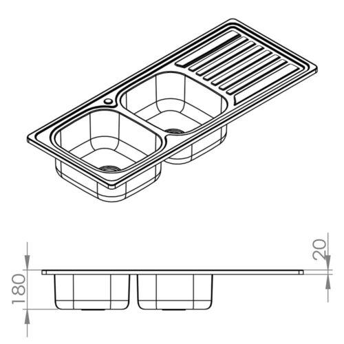 120CM Doppel Spülbecken Ablage Einbauspüle Edelstahlspüle Spülbecken 2 Becken