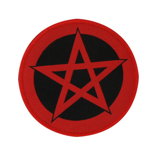 Pentagram Satan Devil Ritual 666 Black Red Logo Sew On Patch Black