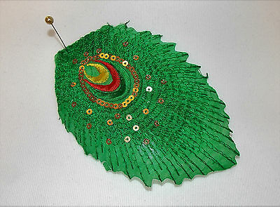 green peacock sequin Motif Lace Wedding Dance costume Sew On hotfix Applique
