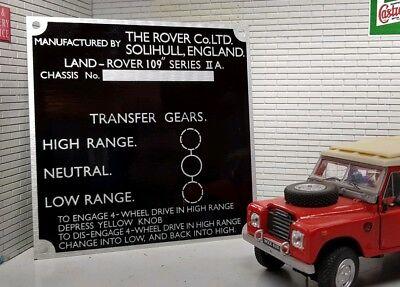 Land Rover Serie 2 2a Schott Getriebe Transfer Box Informationen Plate 109 Ebay