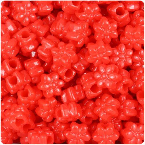 NOUVEAU * * 3 pour 2 50 rouge vif opaque Fleur Forme 13 mm poney perles