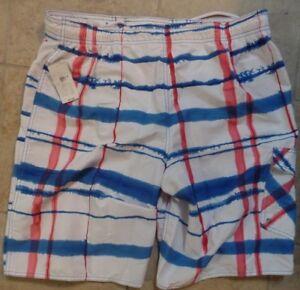 d13e117bca Roundtree & Yorke Men's Red Blue & White Swim Board Shorts Size L NWT MSRP  $49+