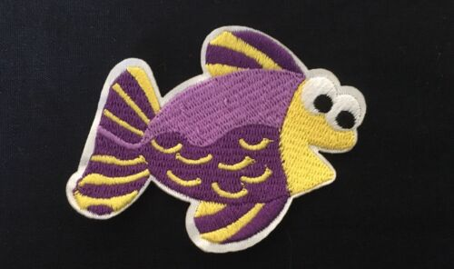 Sew on /& iron on embroidery patches art of sea creatures-fish purple