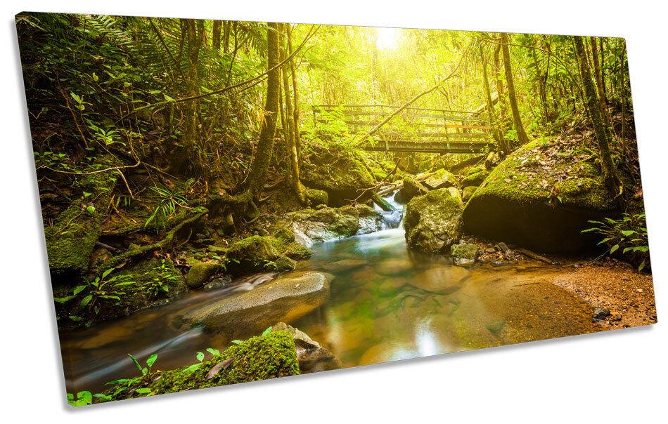 verde FORESTA FIUME ponte tela arte stampa quadro panoramico