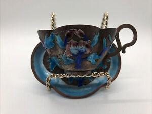 Antique Chinese Hand Painted Enamel Teacup w/ Saucer Blue Metal Vintage