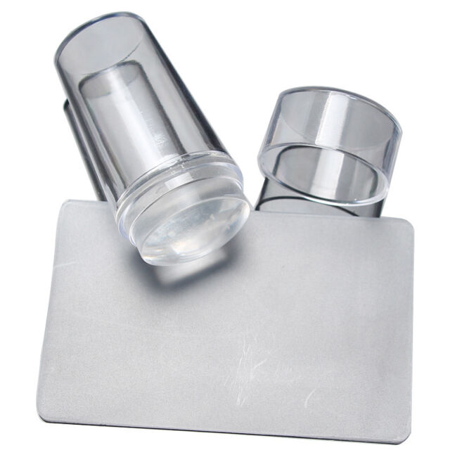 Nail Art Clear Jelly Silicone Stamper Scraper with Cap Transparent Stamping tgs