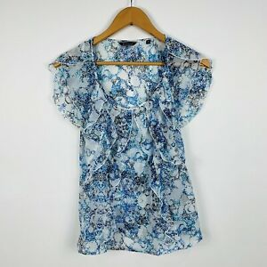 Basque-Womens-Blouse-Top-Size-10-Blue-Short-Sleeve-Good-Condition