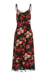 Molly Goddard NEW Livvy Tulle Trim Sweetheart Slip A Line Dress UK14 Floral Midi