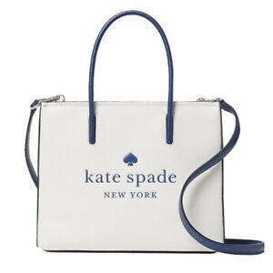 NWT KATE SPADE NEW YORK Trista Leather Shopper Parchment White WKR00385 FREE SH