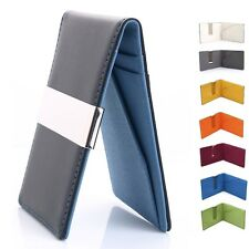 New Mens Slim Style Fashion Moneyclip Wallet Metal Clip Color- Black & Blue