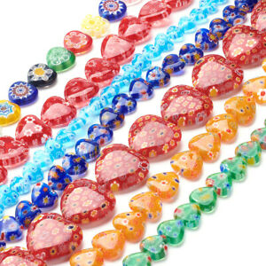 20-Strds-Millefiori-Lampwork-Glass-Beads-Smooth-Heart-Colorful-Loose-Bead-7-20mm