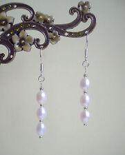Pretty White Freshwater Pearl Silver Plated Drop Earrings