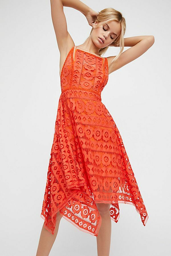 Free People Like Honey Asymmetrical Lace D Red ______________________ R1A4